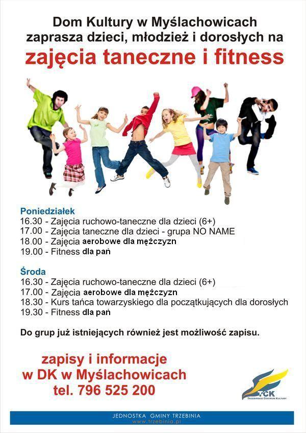 Zaproszenie na zajęcia taneczne i fitness do Domu Kultury w Myślachowicach