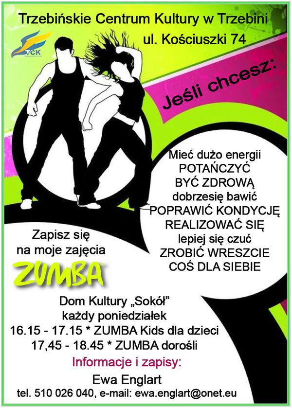 """Zajęcia ZUMBA w Domu Kultury """"Sokół"""""""